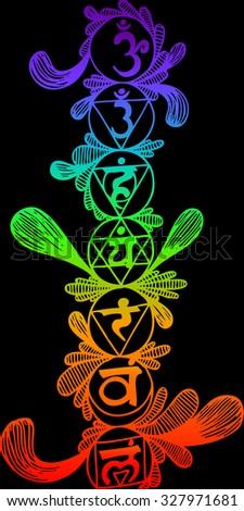 Vector illustration, chakra line, indian religion, card concept. - stock vector