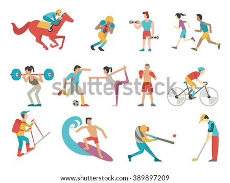 Vector illustration character of people in sport set, simple style with flat design.  - stock vector