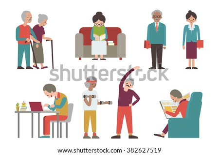 Vector illustration character of senior or elderly man and woman, representing to grandmother or grandfather in various activities.  - stock vector
