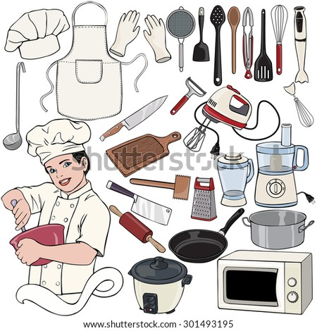 Vector illustration, chef gear, cartoon concept, white background.