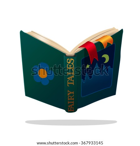 vector illustration children open old book of fairy tales. EPS 10. clip art isolated on white background - stock vector