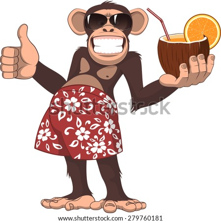 Vector illustration, chimpanzee holding a cocktail and smiling - stock vector