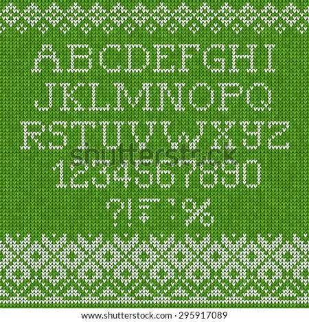 Vector illustration Christmas Font: Scandinavian style seamless knitted - stock vector