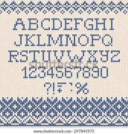 Vector illustration Christmas Font: Scandinavian style seamless knitted ornament pattern - stock vector