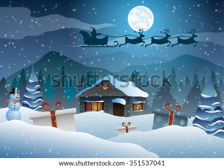 Vector illustration. Christmas. The house on a background of trees, moon and mountains. Santa, gifts and snowman.