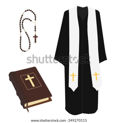 Vector illustration church prayer priest pastor or preacher clothing costume. Brown closed Holy Bible and rosary beads with cross vector isolated - stock vector