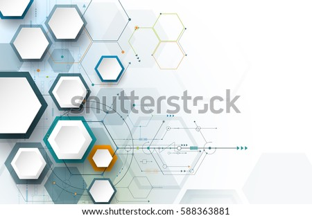 Vector illustration circuit board and 3d paper hexagons background. Hi-tech digital technology and engineering concept. Vector abstract futuristic on white gray color background