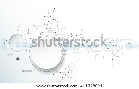 Vector illustration circuit board with 3D paper label, Hi-tech digital technology and engineering, digital telecoms technology concept. Abstract futuristic on light blue color background - stock vector