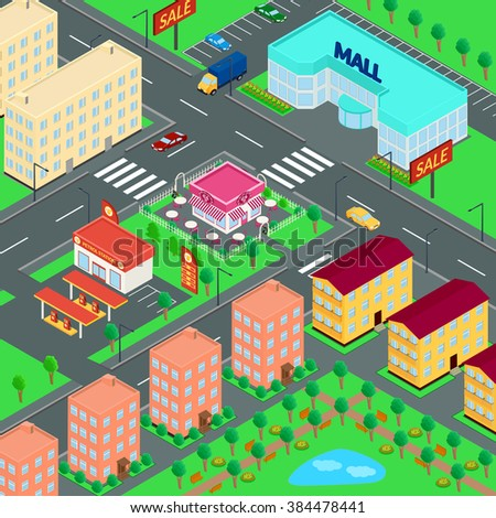 vector illustration. City. Mall, houses, cafes, petrol station, truck, car, Parking, Park. isometric
