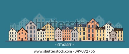 Vector illustration. City silhouettes. Cityscape. Town skyline. Panorama. Midtown houses. Summer. - stock vector