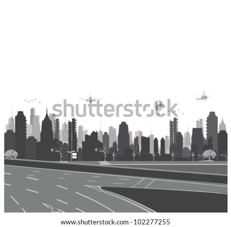 Vector illustration.City skyline and highway silhouette - stock vector