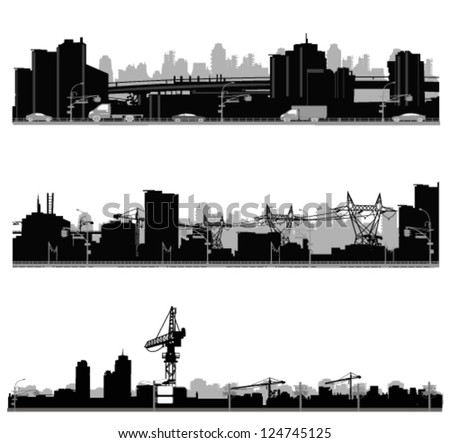 Vector illustration.City skyline.Construction - stock vector