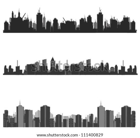 Vector illustration.City skyline.construction site and cranes - stock vector