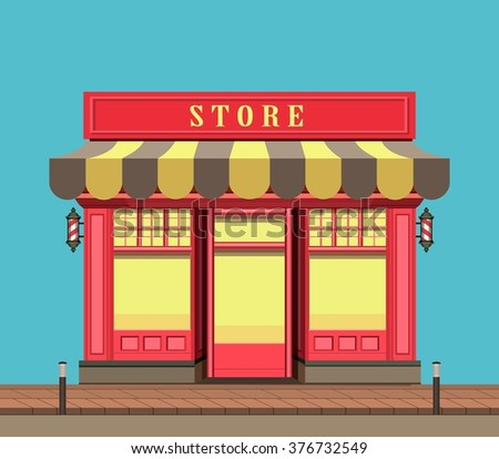 vector illustration city street a small  shop