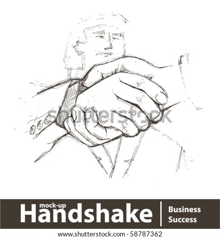Vector illustration. Closeup of business people shaking hands - stock vector