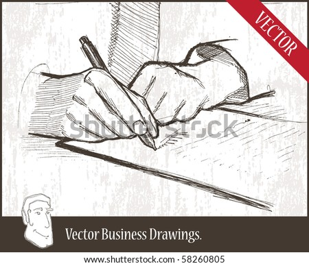 Vector illustration.  closeup of masculine hand holding ballpoint over business document. - stock vector