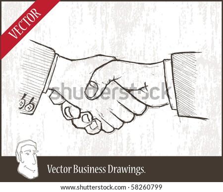 Vector illustration.  closeup of two businessmenâ??s handshake - stock vector