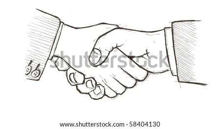 Vector illustration.  Closeup of two businessmen�s handshake - stock vector