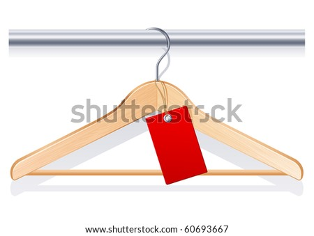 Vector illustration - clothing hanger with  red tag - stock vector