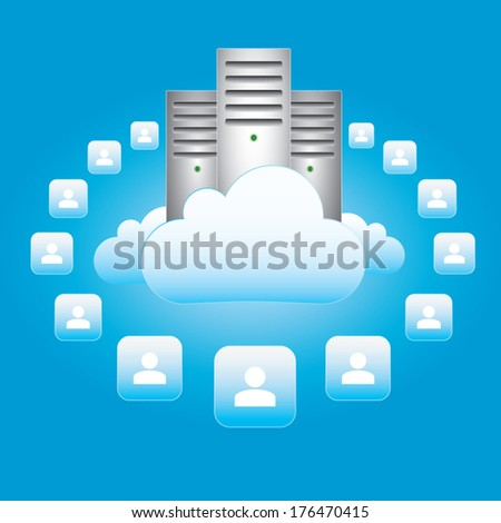Vector illustration - cloud computing and connectivity concept - stock vector