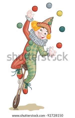 Vector illustration, clown juggling, card concept, white background. - stock vector