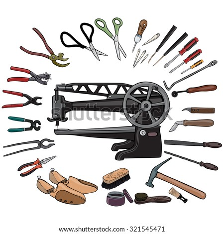 Vector illustration, cobbler's gear, cartoon concept, white background.