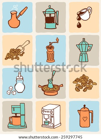 Vector illustration coffee icons set. - stock vector