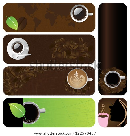 Vector illustration: Coffee & tea graphic design elements for cards & background (Part 11) - stock vector