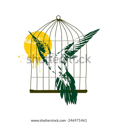 Vector illustration - Colibri in birdcage - stock vector