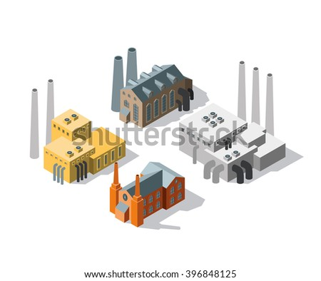 vector illustration collection of a set of isometric sets manufactures and factories buildings - stock vector