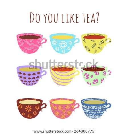 Vector illustration. Collection of different cute cups with tea, coffee, hot chocolate - stock vector