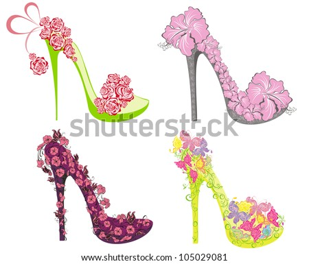 Vector illustration collection of fashion high heels shoes - stock vector
