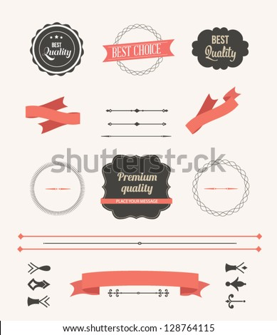 Vector illustration. Collection of Premium Quality and Guarantee Labels. Collection of Labels and vector element with retro vintage styled design. Set of retro ribbons and labels. - stock vector