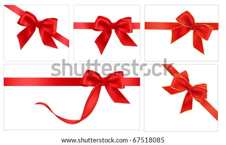 Vector illustration. Collection of red gift bows with ribbons - stock vector