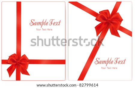 Vector illustration. Collection of red gift bows with ribbons. - stock vector