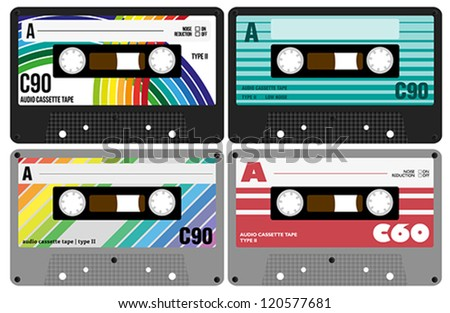 Vector Illustration - Collection of Retro Audio Cassette Tapes Isolated on White Background - stock vector