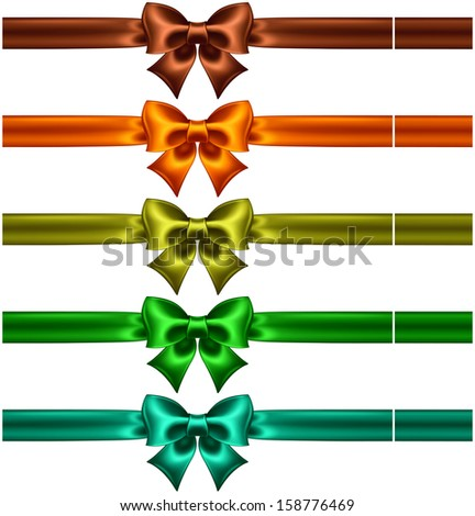 Vector illustration - collection of silk bows in dark colors with ribbons. Created with gradient mesh. - stock vector