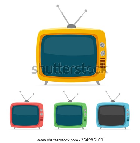 Vector illustration color retro tv set isolated on white background. Flat Design - stock vector