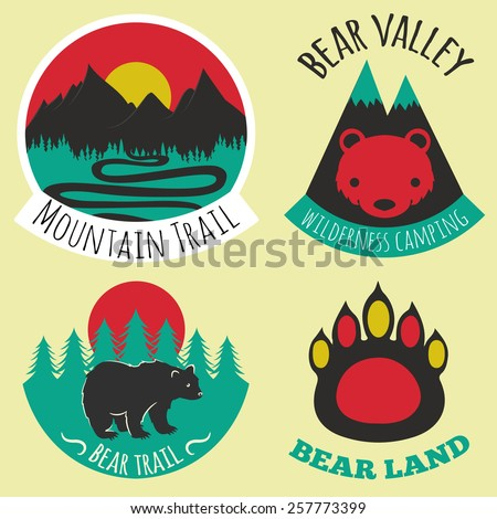 Vector illustration. Colored set of camping emblems, labels and logos with mountains, trees and bears. Bear land, valley, mountain trail - stock vector