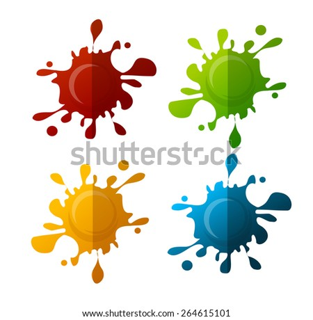 Vector illustration colorful blot set isolated on white background