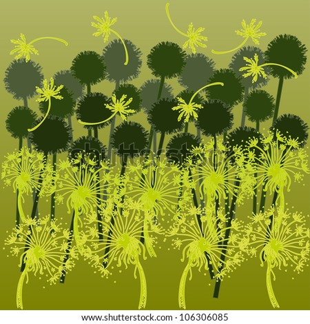 Vector illustration, colorful field, abstract dandelions, card concept.