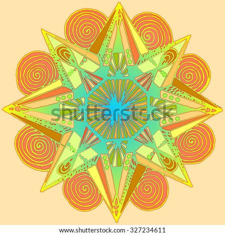 Vector illustration, colorful mandala print, card concept. - stock vector