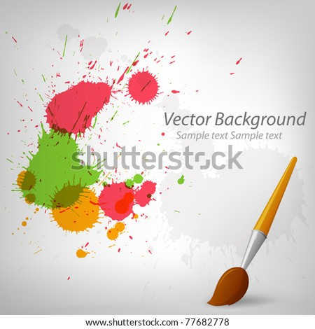 Vector illustration. Colorful paint background with cartoon paintbrush EPS10