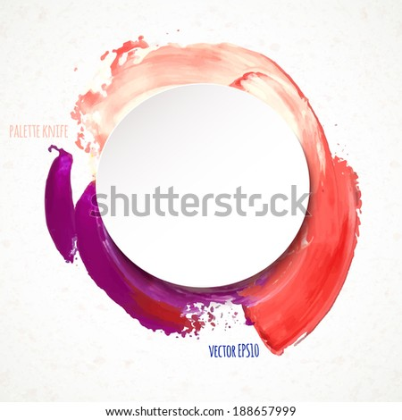 Vector illustration. colorful round spot, painted with a palette knife, with a paper sticker on the texture background - stock vector