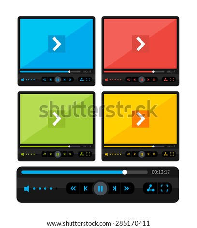 Vector illustration  colorful video player skin set isolated on a white background. - stock vector