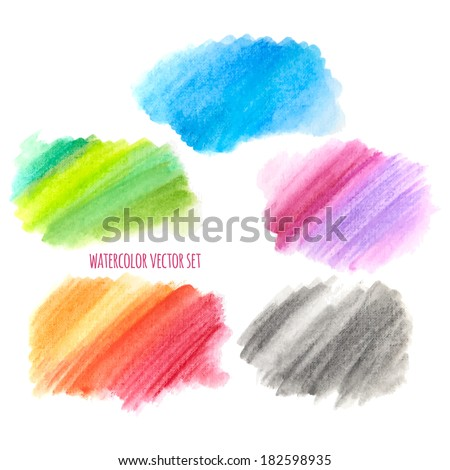 vector illustration. Colorful watercolor stains isolated on white background - stock vector