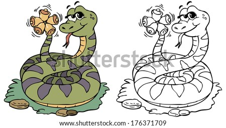 Vector illustration, coloring drawing, rattlesnake, cartoon concept. - stock vector