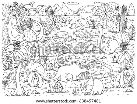Vector Illustration Coloring Page Anti Stress For Adults And Children Dinosaurs Nature Doodle