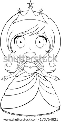 Vector illustration coloring page of a beautiful princess smiling.  - stock vector