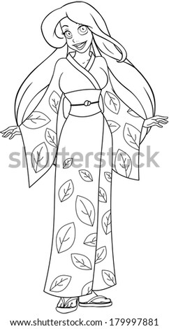 Vector illustration coloring page of a caucasian woman in traditional japanese kimono.  - stock vector